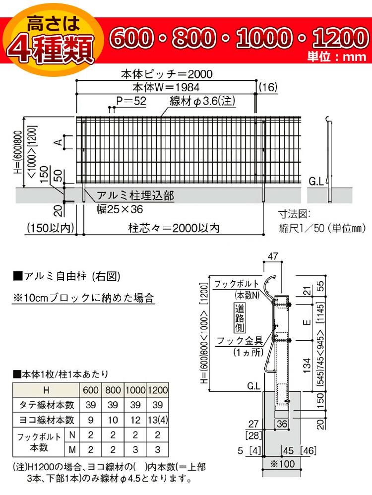 シンプルメッシュフェンス3寸法図