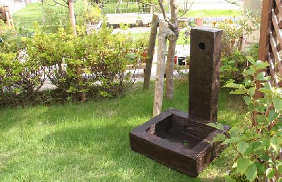 水栓柱カバー 工事不要 立水栓 枕木調 送料無料